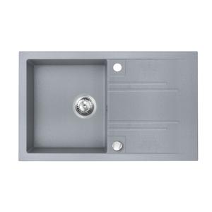 NOVASERVIS Granitový dřez s odkapem, s přepadem z dřezu, šedá DRGM48/78GA