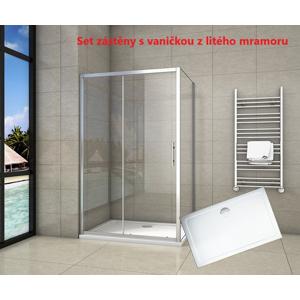 H K Obdélníkový sprchový kout SYMPHONY 100x90 cm s posuvnými dveřmi včetně sprchové vaničky z litého mramoru SE-SYMPHONY10090/ROCKY-10090