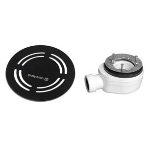 POLYSAN FLEXIA vaničkový sifon, průměr 90mm, DN40, kulatá krytka černá 91432