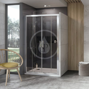 RAVAK 10° Sprchové dveře čtyřdílné 10DP4-170, 1700 mm, bílá/sklo 0ZKV0100Z1
