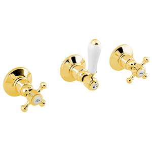 Reitano Rubinetteria ANTEA podomítková sprchová baterie, 2 výstupy, zlato SET305-105