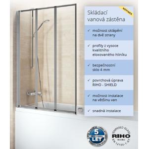 RIHO ALTA 100 vanová zástěna, elox/sklo+Riho Shield výška 140cm GI0100100 GI0100100