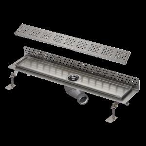Sanela SLKN 18F Nerezový koupelnový žlábek ke stěně, délka 850 mm, lesklý SL 69186