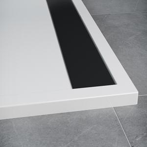 SanSwiss ILA sprchová vanička,čtvrtkruh R550 80x80x3 cm, bílá-kryt černý matný, 800//30 WIR550800604