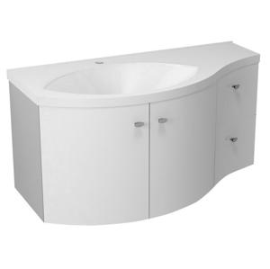 SAPHO AILA umyvadlová skříňka 110x39cm, bílá/stříbrná, zásuvky vpravo vč.umyvadla ISOBEL 55602 55622-SET