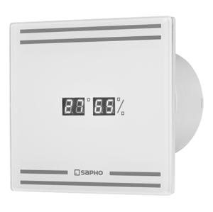 SAPHO GLASS koupelnový ventilátor axiální s LED displejem, 8W, potrubí 100mm, bílá GS103