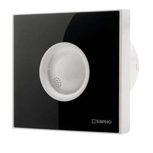SAPHO LITE koupelnový ventilátor axiální s časovačem, 15W, potrubí 100mm, černá LT104