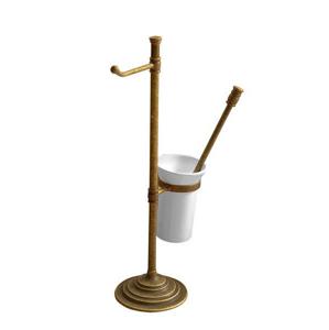 SAPHO Stojan s držákem na toaletní papír a WC štětkou, bronz MC132