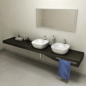 SAPHO TAILOR+ rockstone deska 220x50 cm, límec C, držák ručníku vpravo TRP220C