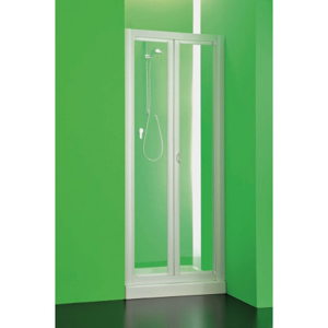 Sprchová zástěna DOMINO 90 95 cm, 185 cm, Univerzální, Plast bílý, Čiré bezpečnostní sklo 3 mm BSDOM97S
