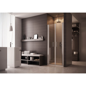 Sprchové dveře EVO 72 76 cm, 190 cm, Univerzální, Leštěný hliník, Čiré bezpečnostní sklo 6 mm BQEV102C