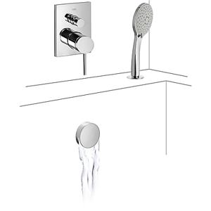 TRES Baterie pro vanu-sprchu podomítková MONO-TERM® s uzávěrem a regulací průtoku (2-cestná). · 06218012