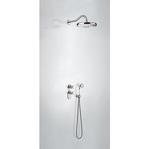 TRES Podomítkový termostatický sprchový set s uzávěrem a regulací průtoku (2-cestná). · Včetně 24235202