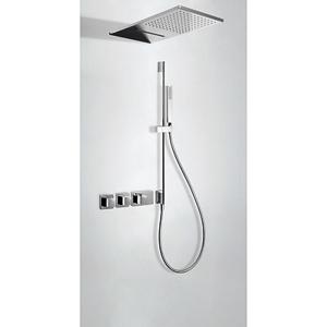 TRES Termostatický podomítkový sprchový set BLOCK SYSTEM s uzávěrem a regulací průtoku (3-cestn 20725309