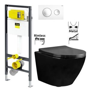 VIEGA Presvista modul DRY pro WC včetně tlačítka Style 20 bílé + WC REA CARLO MINI RIMFLESS ČERNÁ + SEDÁTKO V771973 STYLE20BI CL1