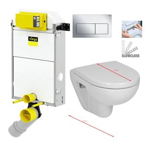 VIEGA Presvista modul PURE pro WC včetně tlačítka Life5 CHROM + WC JIKA LYRA PLUS 49 + SEDÁTKO DURAPLAST SLOWCLOSE V771928 LIFE5CR LY4