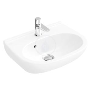 VILLEROY & BOCH O.novo Umývátko Kompakt, 500 mm x 400 mm, bílé, Umývátko Kompakt, 500 mm x 400 mm, bílé jednootvorové umývátko, bez přepadu, s Ceramicplus 536051R1
